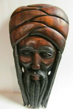 Jamaican Rasta Man Carved Wood Head Wall Hanging Art Sculpture Large Isl... - $262.35