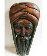 Jamaican Rasta Man Carved Wood Head Wall Hanging Art Sculpture Large Island  - $262.35