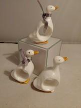 3 Ceramic White Duck Napkin Rings Ron Gordon Designs  - $9.49