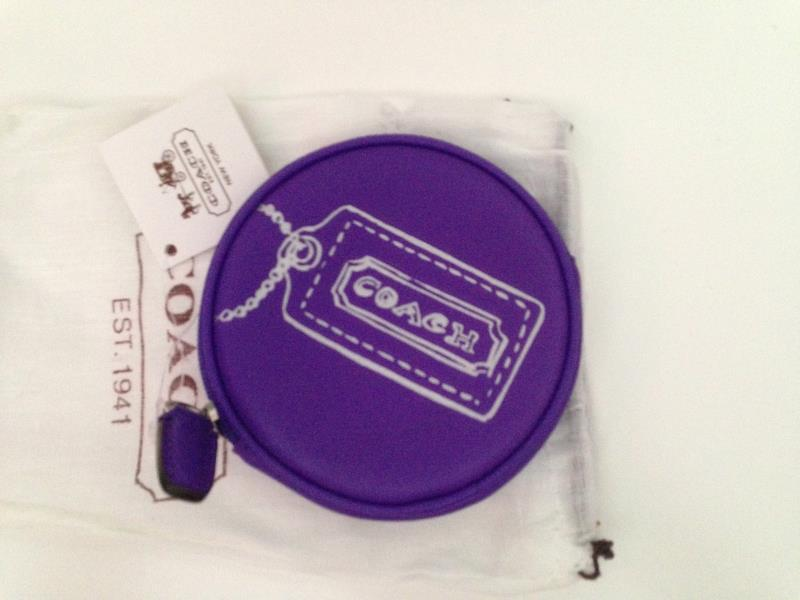 New COACH Legacy Motif Round Coin Case Purse 48558 Ultraviolet Purple