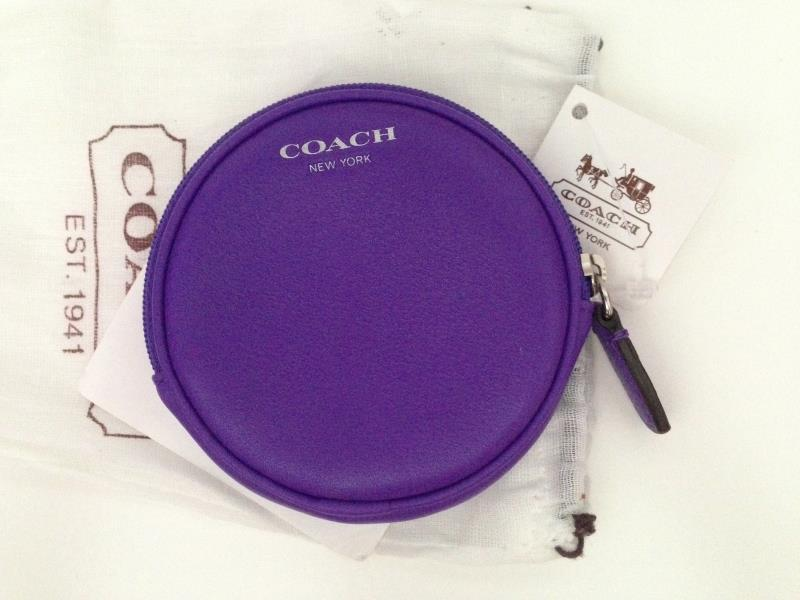 New COACH Legacy Motif Round Coin Case Purse 48558 Ultraviolet Purple image 2
