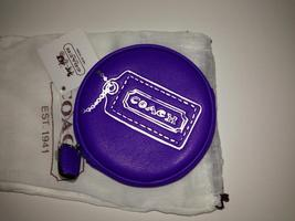 New COACH Legacy Motif Round Coin Case Purse 48558 Ultraviolet Purple image 3