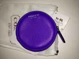 New COACH Legacy Motif Round Coin Case Purse 48558 Ultraviolet Purple image 4