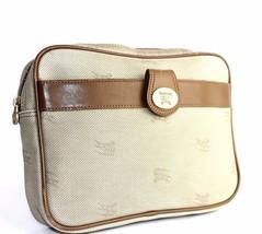 Auth Burberrys London Monogram Canvas pattern Leather Beige Clutch bag V... - $69.29