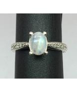 14k Rainbow Moonstone & Diamonds Ring, FREE SIZING - $279.00
