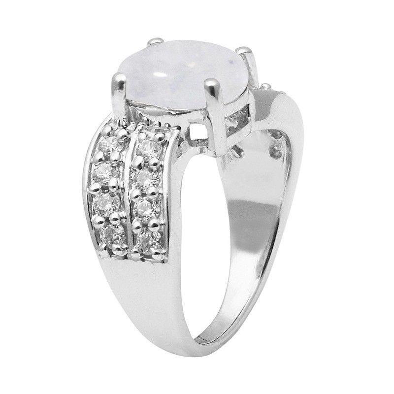 Rainbow Moonstone 925 Sterling Silver Ring Shine Jewelry Size-9.5 SHRI1426