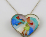 LADY in HEART Cloisonné Pendant in Enamel and Sterling Silver plus Necklace