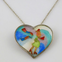 LADY in HEART Cloisonné Pendant in Enamel and Sterling Silver plus Necklace - $85.00