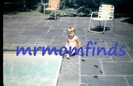 Vintage 35mm Sllide 1955 Kodachrome ~ Child sitting at pool - $9.89