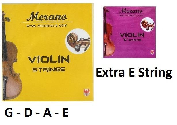Merano 1/8,1/10,1/16 Violin String Set (G-D-A-E)+Extra E String~Beginner,Student, used for sale  USA