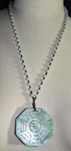 Vintage Carved Aquamarine Ying Yang Pendant Bead Beaded Necklace No Clasp - $74.25