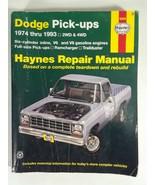 Haynes 30040 Dodge Pick-Ups 1974-1993 2WD and 4WD Repair Manual - $11.87