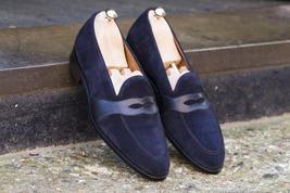 Handmade men suede loafer moccasins shoes, Men blue slip ons shoes, Men ... - $159.99