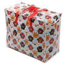 Fun Practical Laundry & Toy Storage Bag Zip Up Organiser Lucky Cat Manek... - $9.03