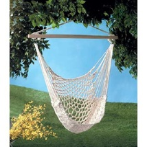 Hammock Chair White Recycled Cotton Outdoor Relaxation  - $49.95