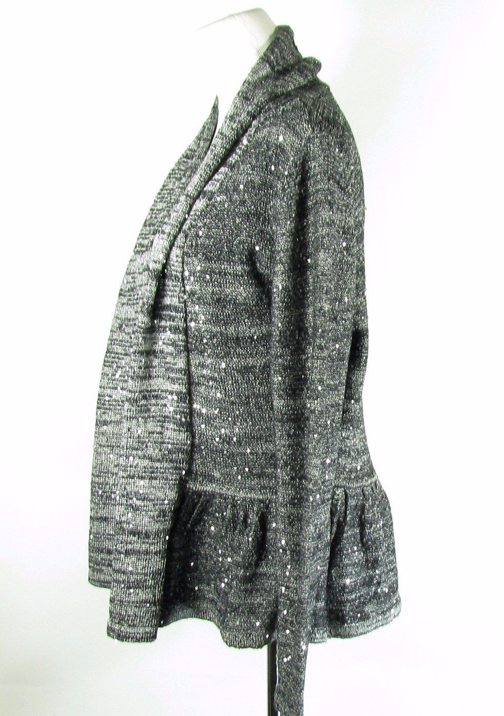 Laura Ashley Size M Gray Marled Shimmer Open Cardigan Sweater