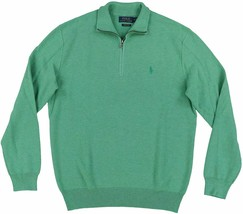 Polo Ralph Lauren Mens Textured 1/2 Zip green Cotton Mock Neck Pullover ... - $79.99