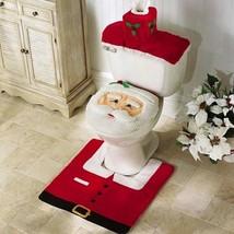 Bathroom Rug Set Christmas Toilet Seat Santa Cover Decoration Xmas Happy... - $11.96+