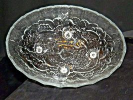 Heavy etched glass serving banana bowl AA19-LD11937 Vintage image 4