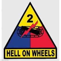 Army 2ND Armored Division Hell On Wheels Military 3.5 Inch Decal Sticker - $18.04