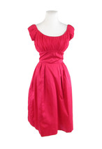 Rose red cap sleeve sheer overlay empire waist vintage dress XS - $129.99
