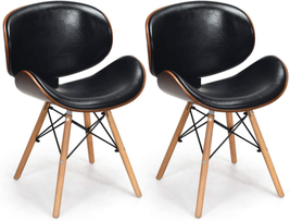 NEW Set of 2 Dining Chairs, w/Soft PU Leather Seat, Back Chair and Wooden - $167.46