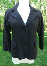 Chico's Blazer 1 / S Brown LS Pockets Textured Lined Front Hidden Snap C... - $38.61