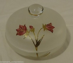Handpainted Rose Candy Dish Frosted Crystal - $13.77
