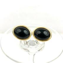 VTG Gold tone Trifari Clip on Earrings with Black Center - $23.36