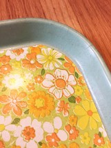 Vintage 70s CATER melamine cafeteria/serving tray with vinyl floral inlay image 3