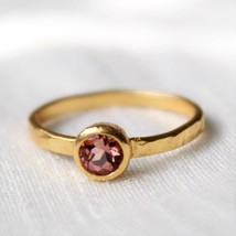 Pink Tourmaline Ring, Stacking Ring,Sterling Silver Ring,Gold Plated,pro... - $28.80