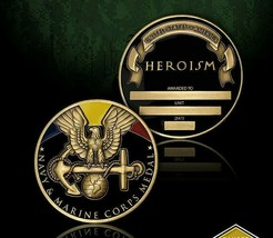 """NAVY AND MARINE CORPS MEDAL HEROISM 1.75"""" CHALLENGE COIN - $18.04"""