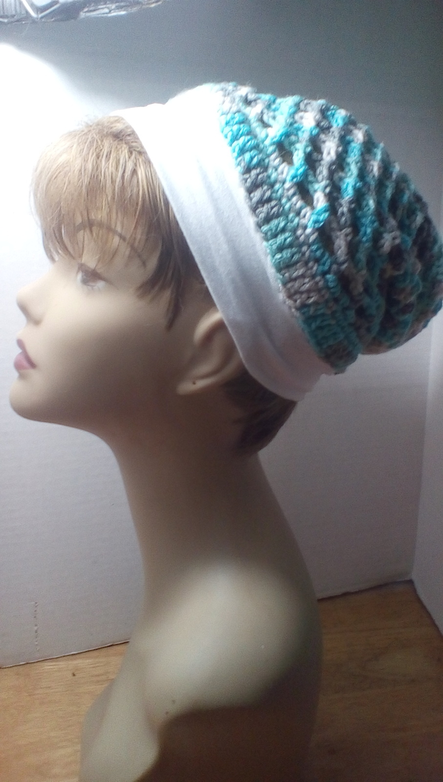 Blue, green, white and gray with white headband winter hat.  With matching scarf image 2