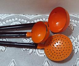 Vintage Mid Century Enamel Orange Ladles Mid Century Kitchen  - $50.00