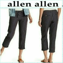 Allen Allen Linen Crop Pull-on Pants Navy White Pinstripe Stripe Nordstr... - $23.76