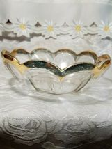 Heisey Glass Colonial Panel Pattern Round Bowl Dish Clear Gold Edge Star Diamond image 5