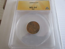 1940-S  , Lincoln Penny , MS 64 , RB , Anacs - $20.00