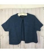 Alexandra Bartlett M Blue Wool Knit Bolero Cardigan Sweater Cropped Shor... - $29.95