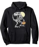 T-Rex Dinosaur Skeleton Pumpkin Halloween Pullover Hoodie - $27.99+
