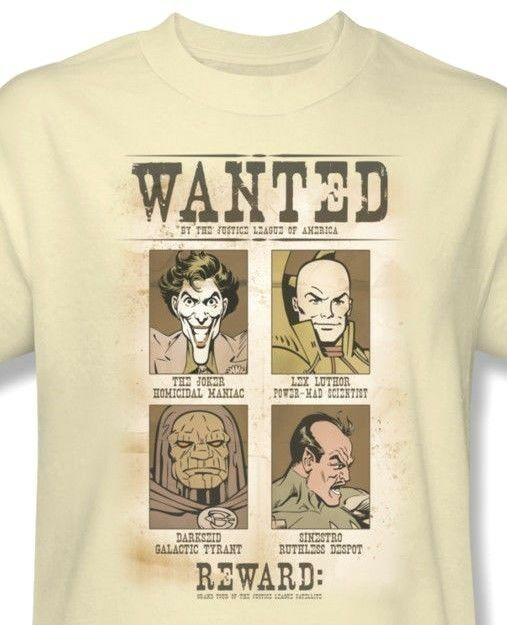 DC Comics Villians Wanted Poster T shirt Joker 100% cotton graphic tee DCO451