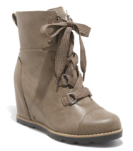 Universal Thread Women's Taupe Katherine Lace-Up Wedge Fashion Boots