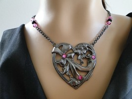Set 36 Necklace and Earrings Pewter Toned Heart - $17.00