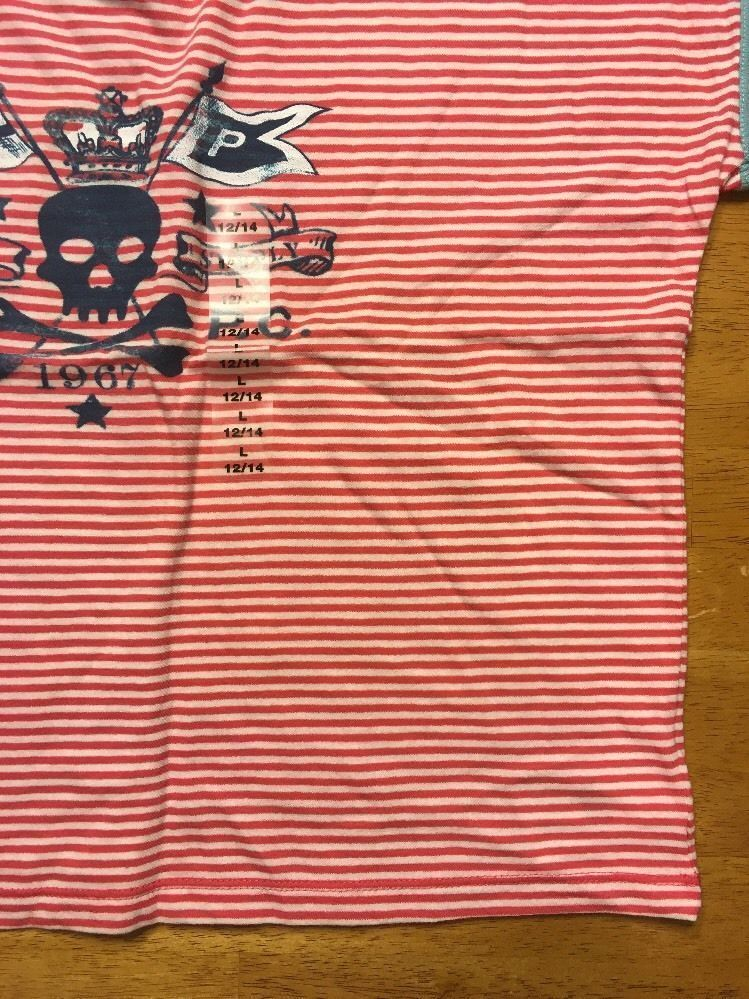 NWT Ralph Lauren Girl's Red Striped Blue Trim Pirate Shirt Size Large 12/14 image 8