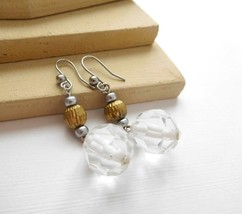 Retro Clear Faceted Bead Silver Gold Mixed Metal Dangle Earrings J32 - $4.94