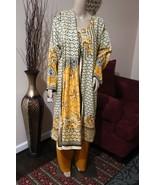Pakistani Dark Yellow & Beig Printed Straight Shirt 3-Pcs  Arabic  Lawn ... - $44.55