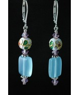 Sterling Silver Earrings_Cloisonne and Light Amethyst Crystals - $30.00