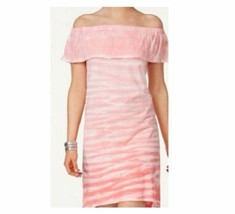 Style & Co. Women's Pink Tie Dye Ruffled Tee Dress Hi-Lo Off-Shoulder Si... - $19.79