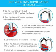 ZHEGE Combination Lock, 4 Digit Outdoor Padlock for Gym, School, Fence, & More image 3