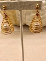 Gold Tone Spiral Faux Pearl Drop Dangle Pierced Earrings. - $14.03