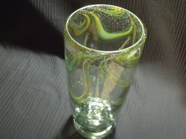 "FUSED GLASS STUDIO ART HAND BLOWN  GREEN CYLINDER VASE 12"" TALL - $34.65"